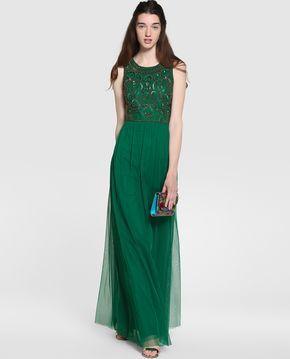 Vestido largo verde el corte ingles