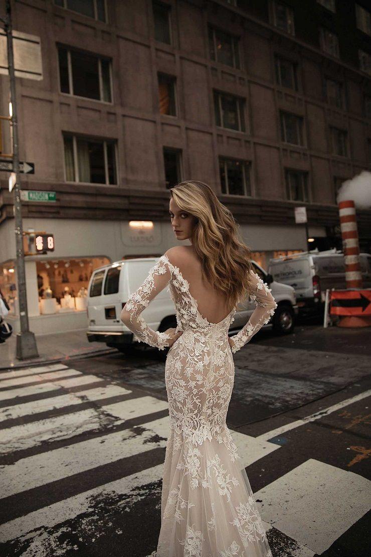 Off the shoulder lace wedding gown with deep opened back | itakeyou.co.uk #wedding #weddingfashion #bridal #weddingdress #weddinggown #bridalgown #weddingdresses #weddinggowns #berta #bridalinspiration #weddinginspiration #engaged