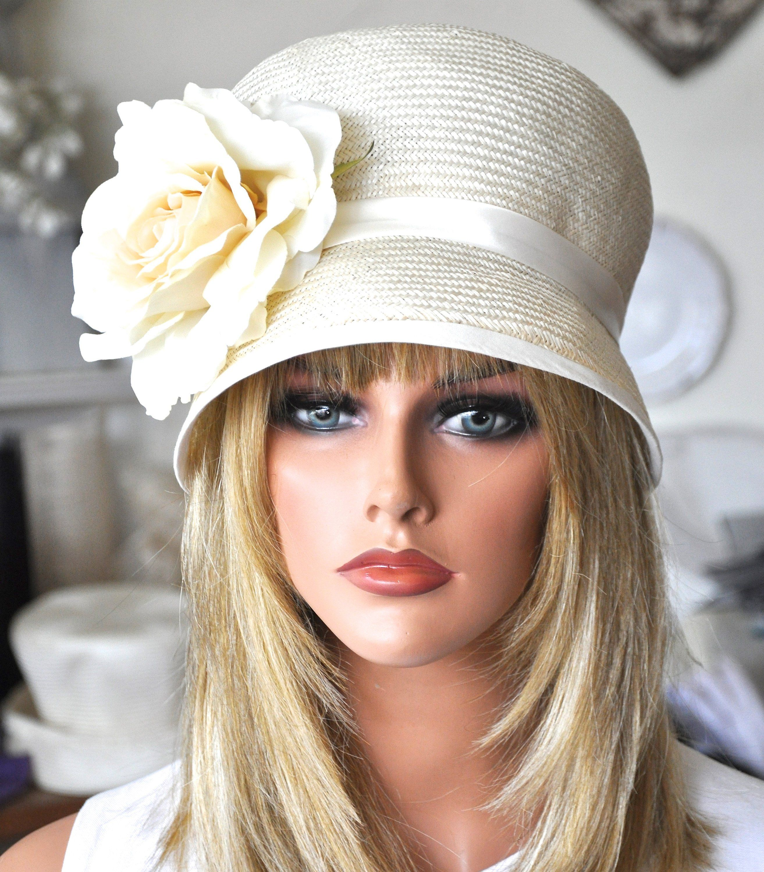 Vintage 1950s Style Cream Pink Halo Veil Flower Fascinator  Ascot Derby Races Wedding Hat \u201cOne Off Piece\u201d
