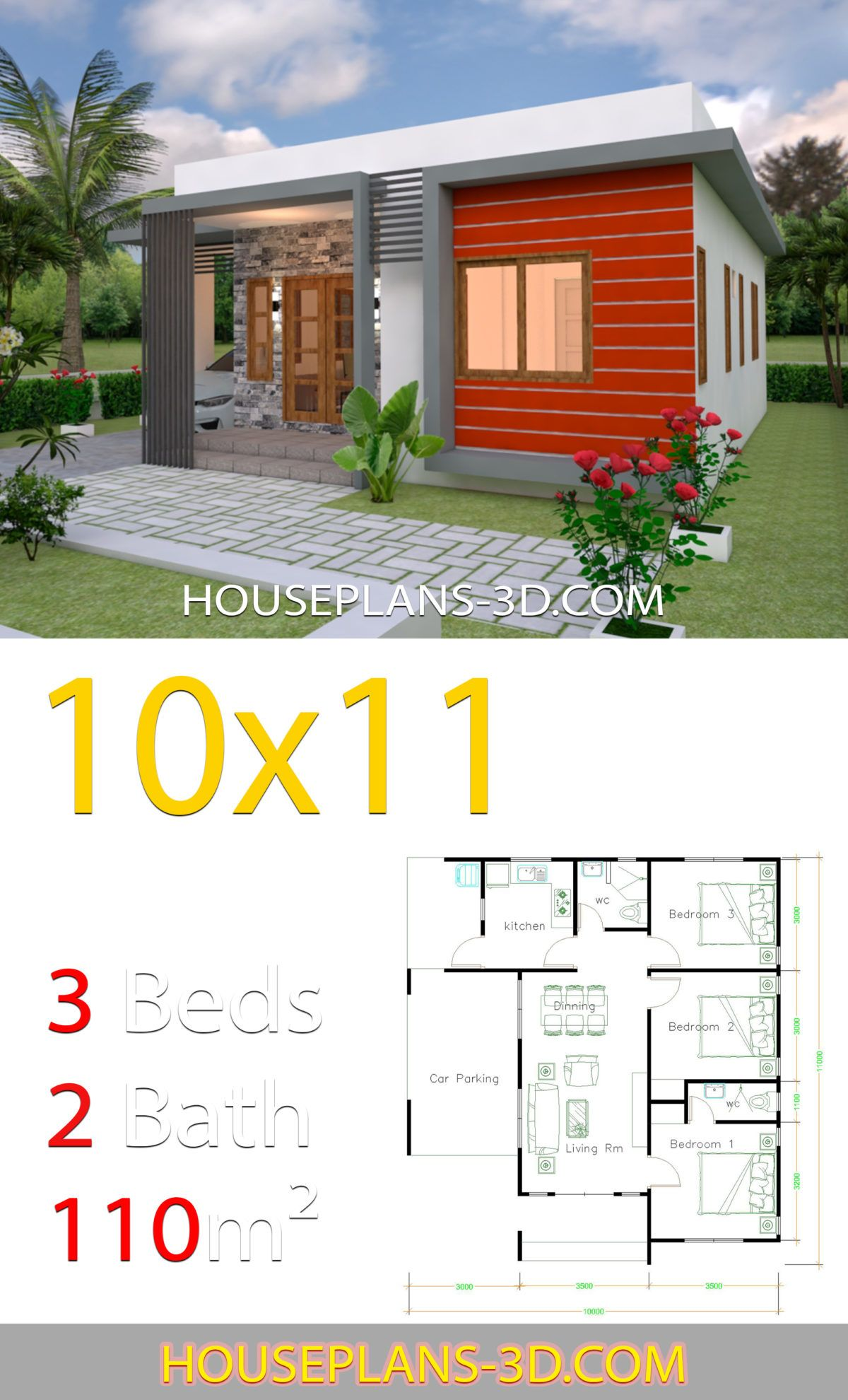 House Design 10x11 With 3 Bedrooms Terrace Roof House Plans 3d Affordable House Plans Beautiful House Plans Model House Plan