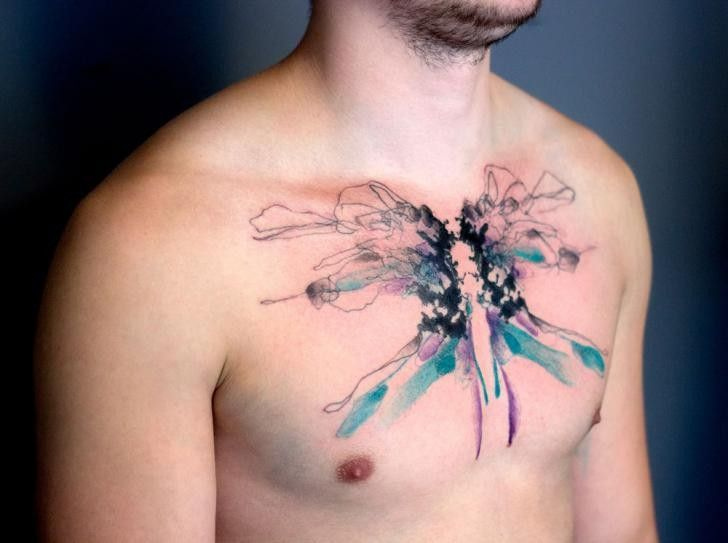 Abstract Style Colored Chest Tattoo Of Big Butterfly Chest Tattoo Tattoos Abstract Tattoo Designs