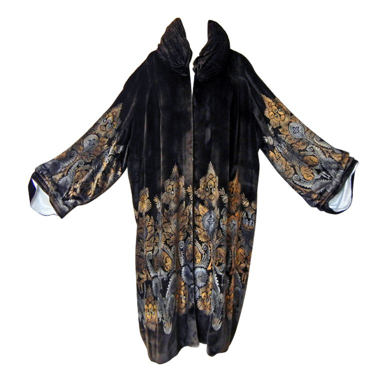 MARIA MONACI GALLENGA/GALLENGA ESTATE STENCILLED VELVET COAT
