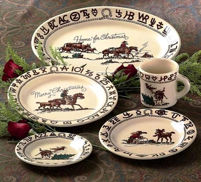 Westward Ho Rodeo Cowboy Christmas Western Dinnerware 17 Pc Set by True West american made in & Westward Ho Rodeo Cowboy Christmas Western Dinnerware 17 Pc Set by ...