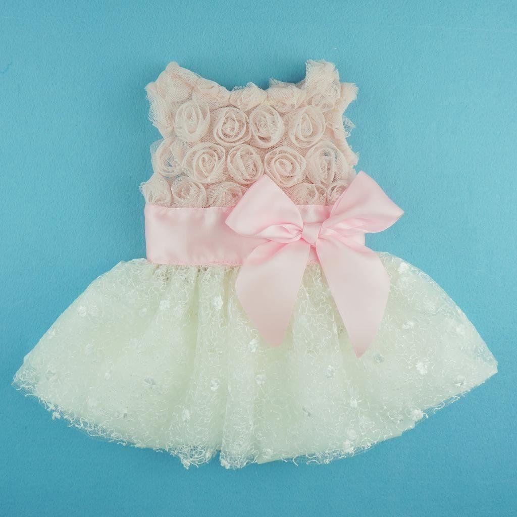 Amazon.com : Fitwarm Pink Rose Lace Pet Dog Wedding Dress Bride ...