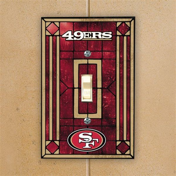 San Francisco 49ers Burgundy Art Glass Switch Plate Cover