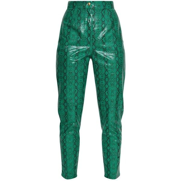 96781c5f61aa Jade Green Faux Leather Snake Print Slim Leg Trousers ($45) ❤ liked on Polyvore  featuring pants, slim leg pants, python pants, faux leather trousers, ...