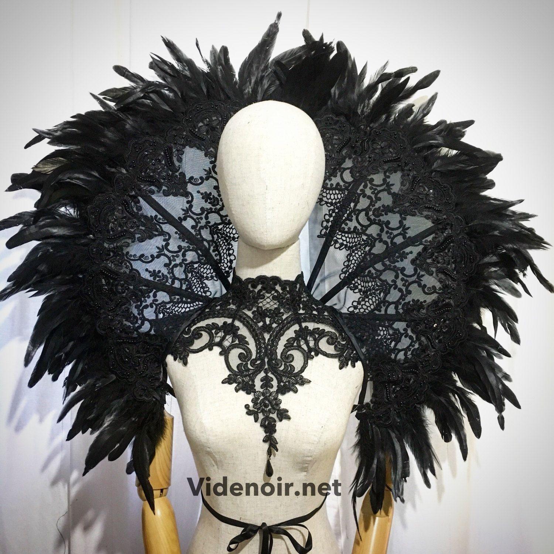 Black Raven Grand Deco Feather Collar Reversiable Red/Black 47X33 ...