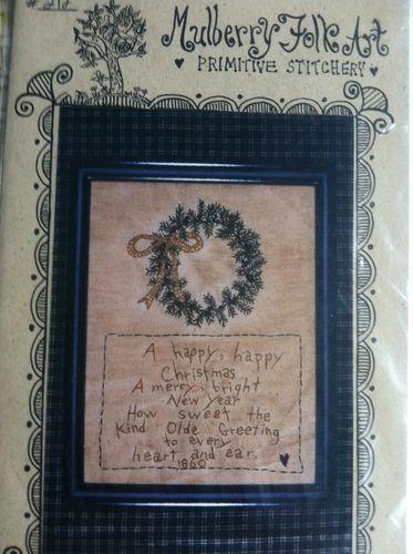 Mulberry Folk Art Wreath Embroidery Primitive Stitchery