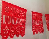 1 Hand Cut Fiesta Papel Picado Banner - Any Occasion - Personalized