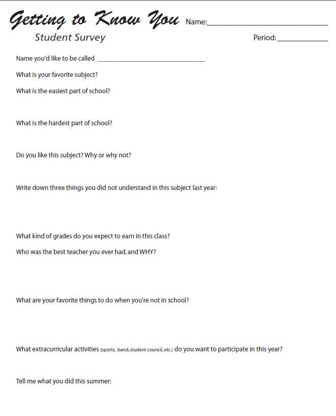 FREE! Getting to Know You - Middle School   High School Student - example of survey form