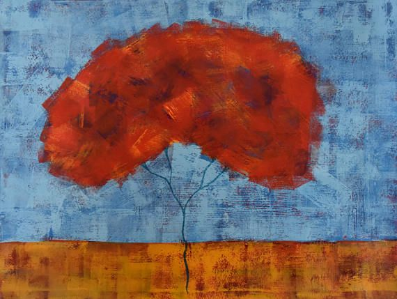 Red Tree Painting...Landscape Painting...Wall Decor...18x24 Art...Contemporary Original Artwork