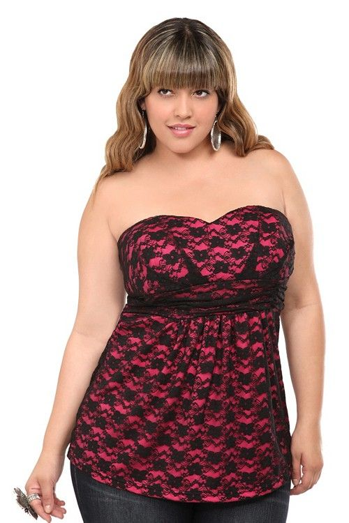 24192ae76f Pink With Black Lace Tube Top - Torrid