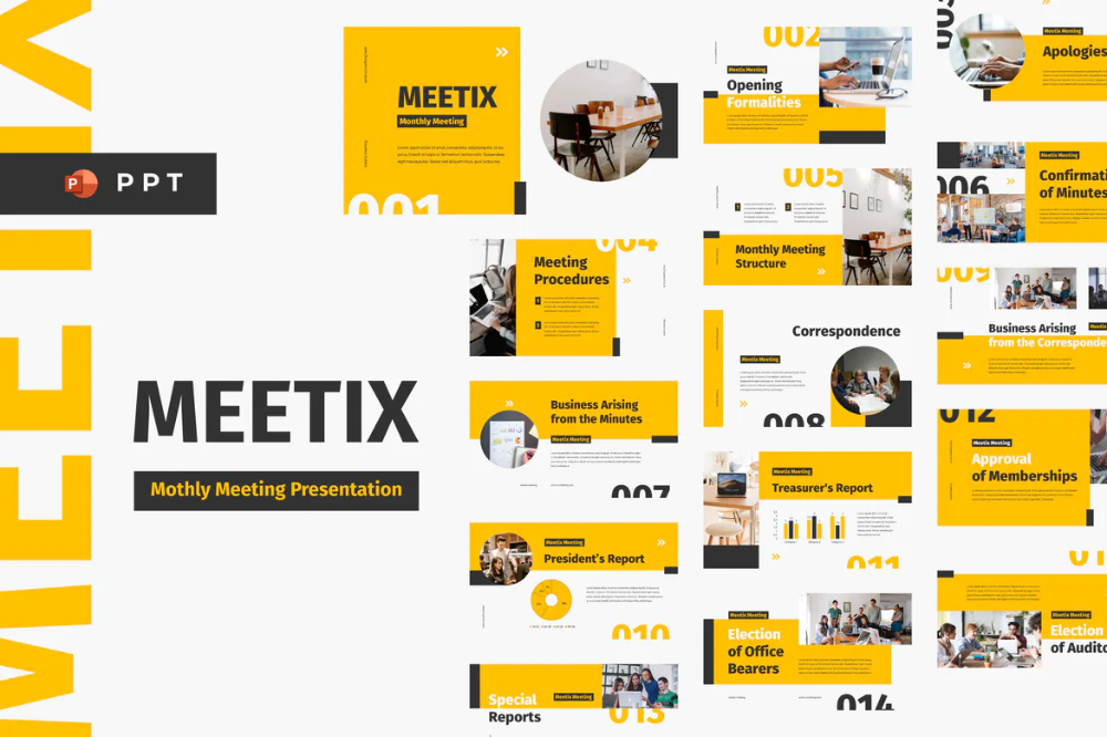 Meetix Monthly Meeting Powerpoint Template By Inipagi On Envato Elements In 2020 Keynote Template Google Slides Template Powerpoint Templates