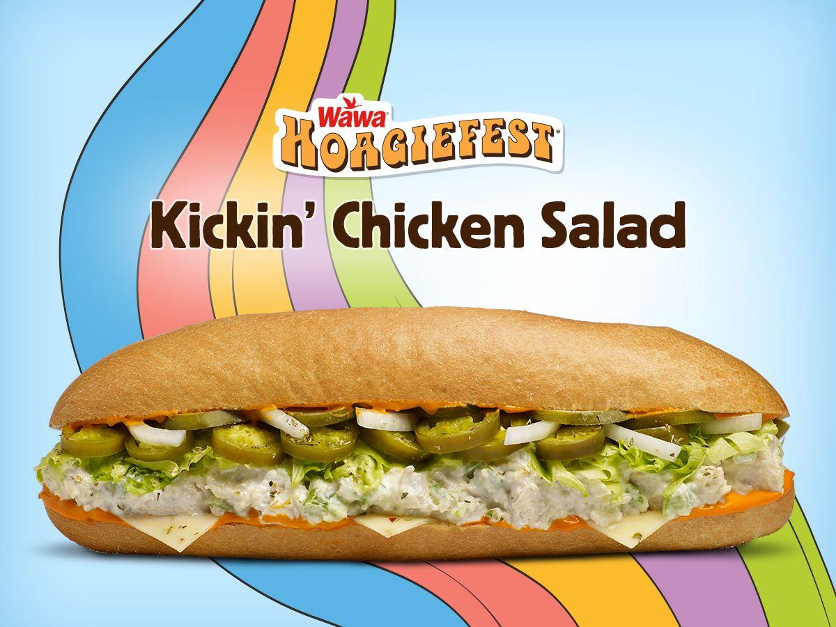 wawa kickin u0027 chicken salad hoagie hungry for hoagies pinterest