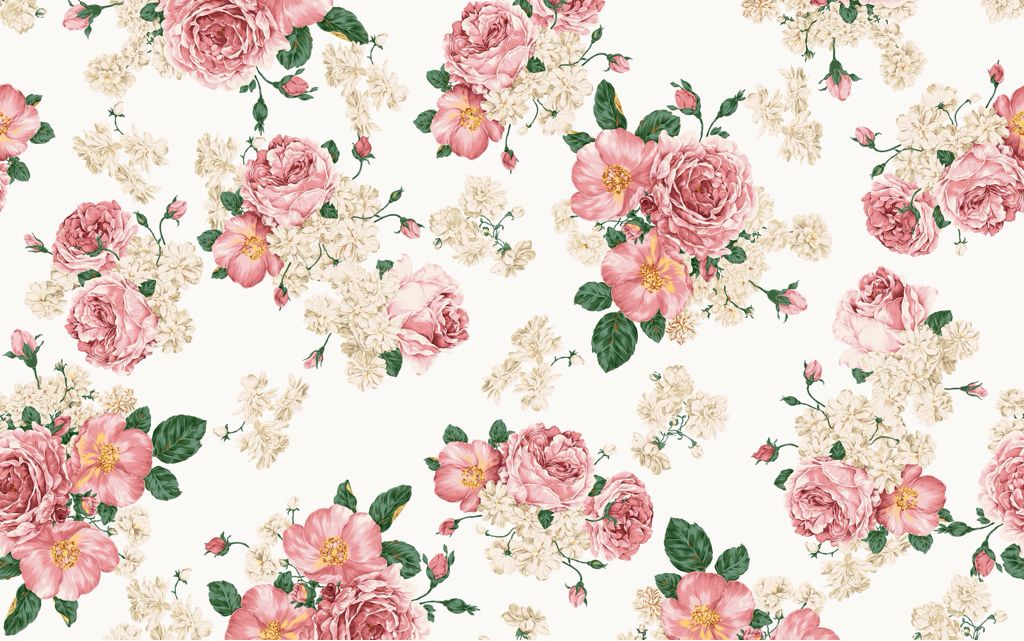 Wallpaper Flower Vintage Pink