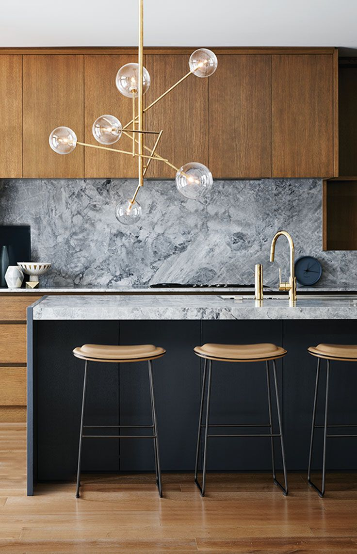 Modern Kitchen Marble Backsplash grey marble backsplash, natural wood cabinets, modern kitchen
