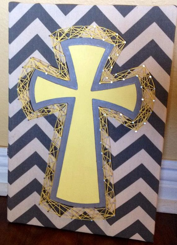 String Art Cross on Chevron background by NailedItDesign on Etsy, $30.00