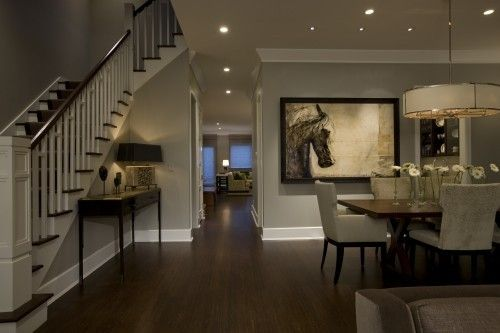 Gray Living Room With Dark Wood Floors
