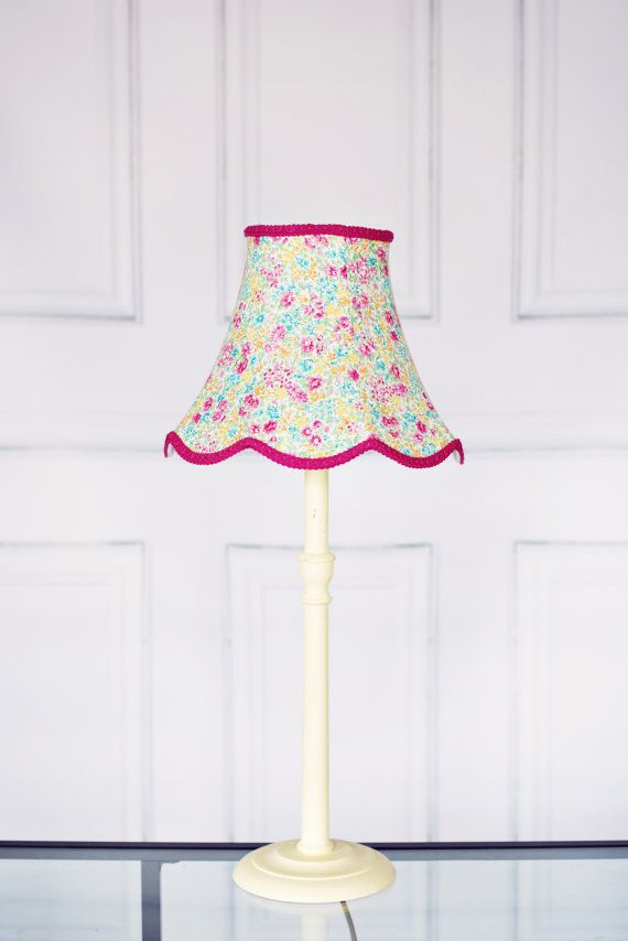 Pink Green Yellow Blue Floral Traditional by ShadowbrightLamps