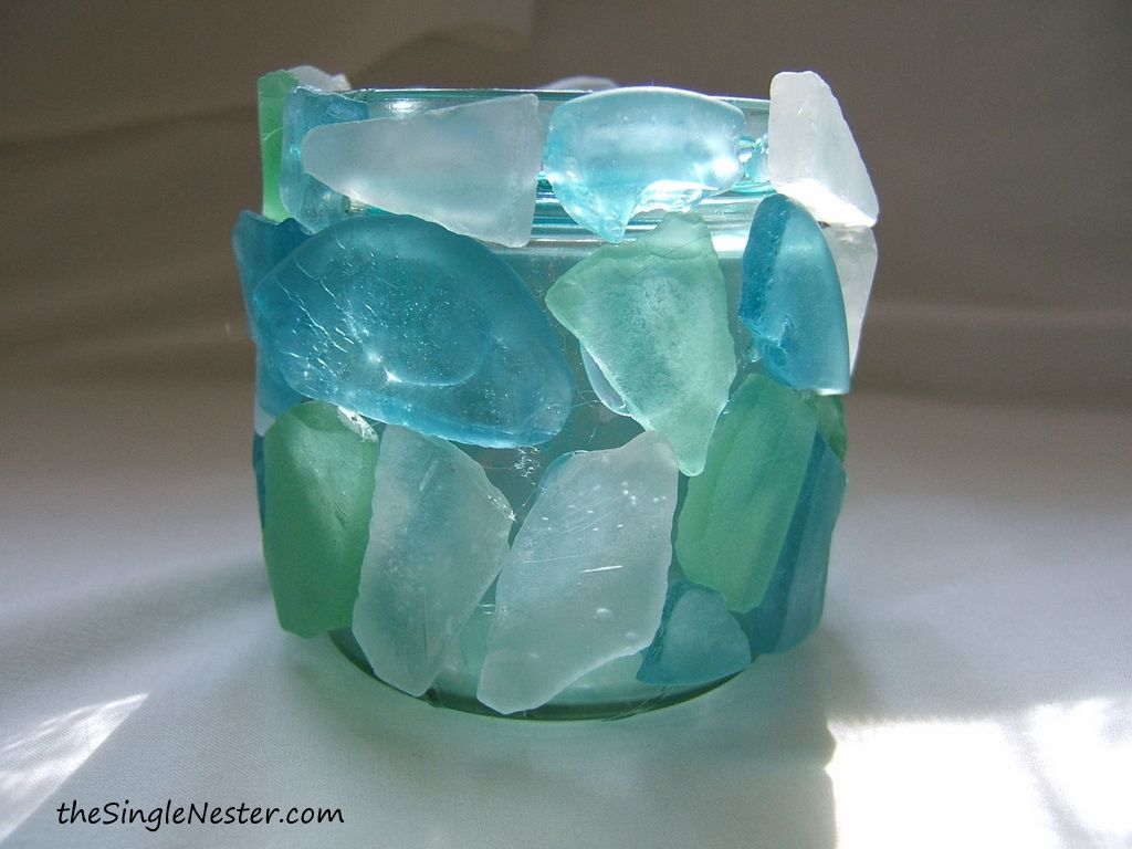 seaglass votive candle holder i will try this wedding decoration task force pinterest. Black Bedroom Furniture Sets. Home Design Ideas