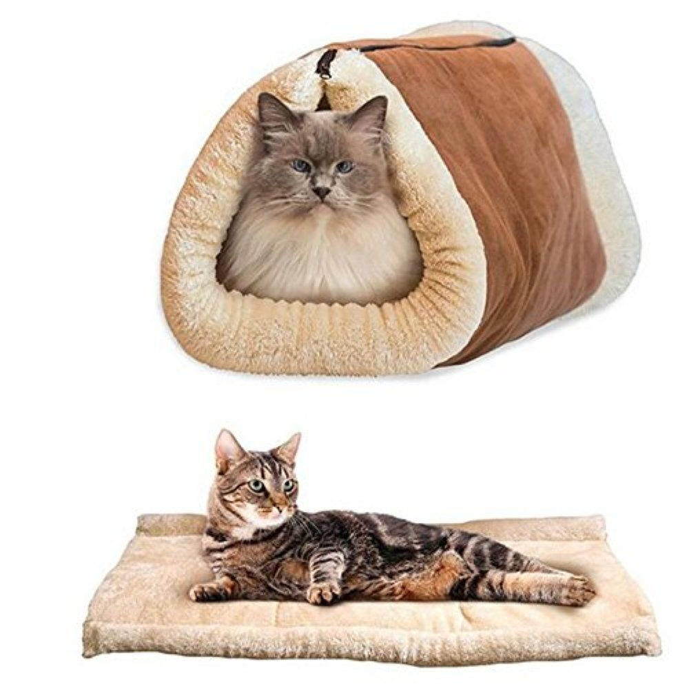 2 In 1 Cat Sleeping Bag Pet Bed Tunnel Fleece Tube Indoor Cushion Mat Pyramid Pad For Dog Puppy Kitten Kitty Kennel Crate Ca Dog Pet Beds Cat Bed Small Pet Bed