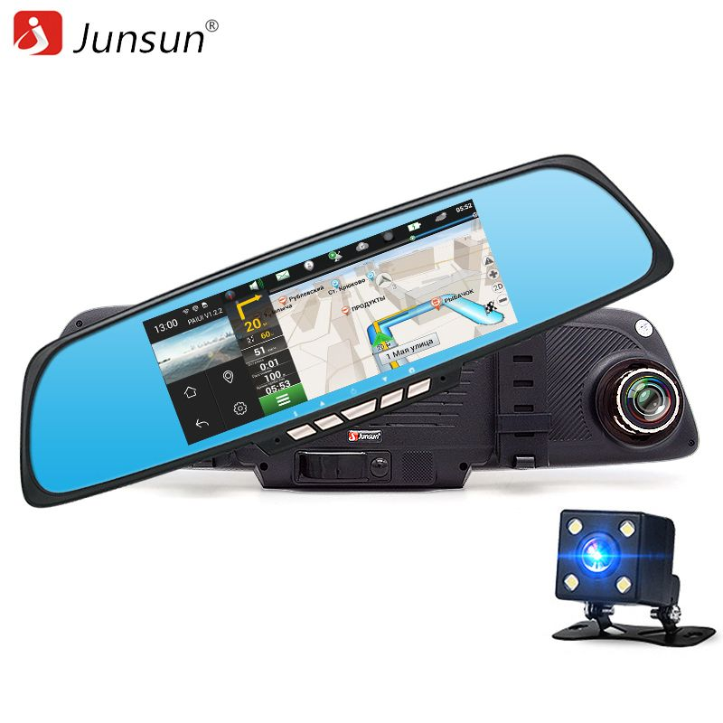 Dual Lens Car DVR Camera Recorder HD 1080P Rearview Mirror Dash Cam GPS Sat Nav