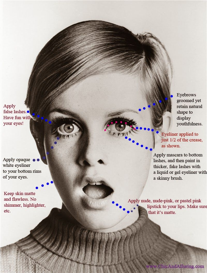 1960s mad men megan / twiggy mod makeup look http://www