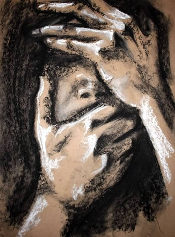 Self portrait.  Chalk and charcoal on brown paper