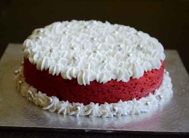 How To Bake Eggless Red Velvet Cake In Pressure Cooker Without Oven Video Recipe Recipe Eggless Red Velvet Cake Homemade Cake Recipes Velvet Cake Recipes