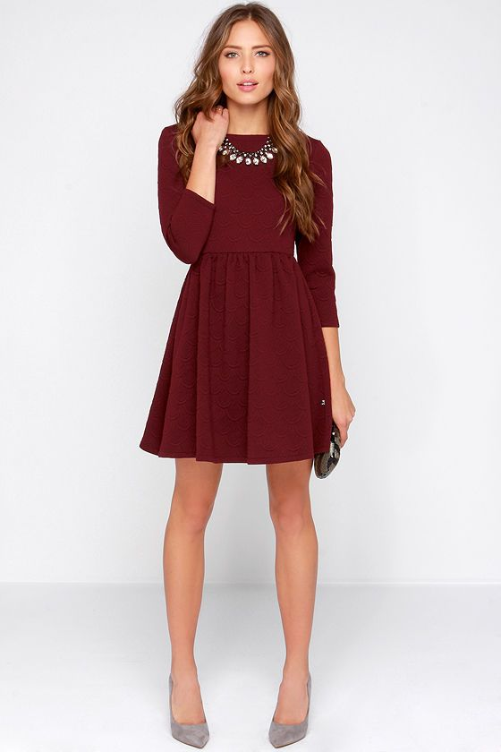 bd483ccb8c Diller Burgundy Long Sleeve Dress at Lulus.com!