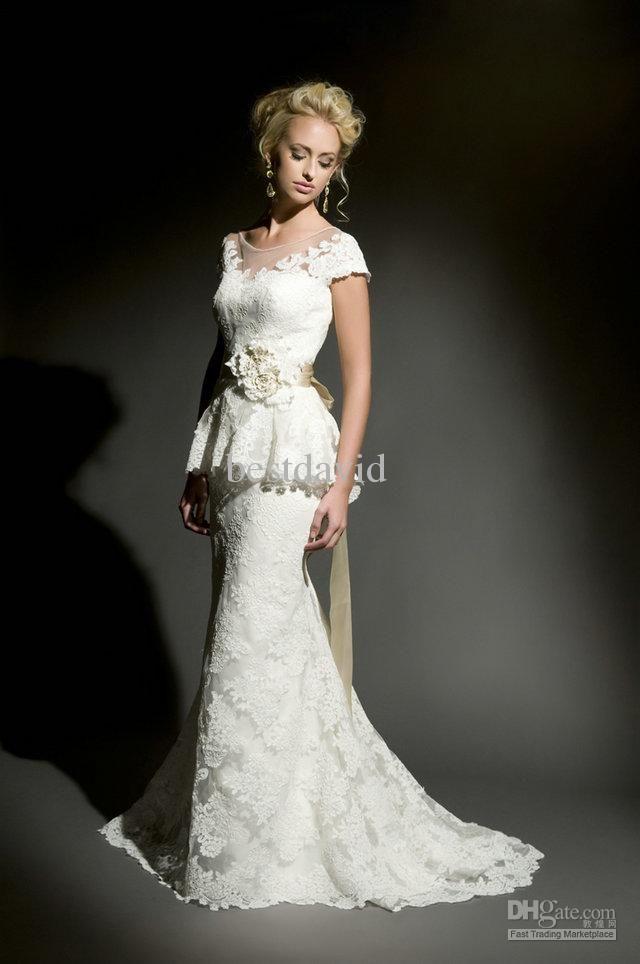 Cheap Strapless Lace Mermaid Peplum Wedding Dress Cap Sleeve Beaded Handmate Flower Court Train 3803