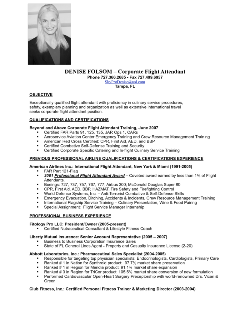 Sample Resume For Flight Attendant With Experience  Home Design