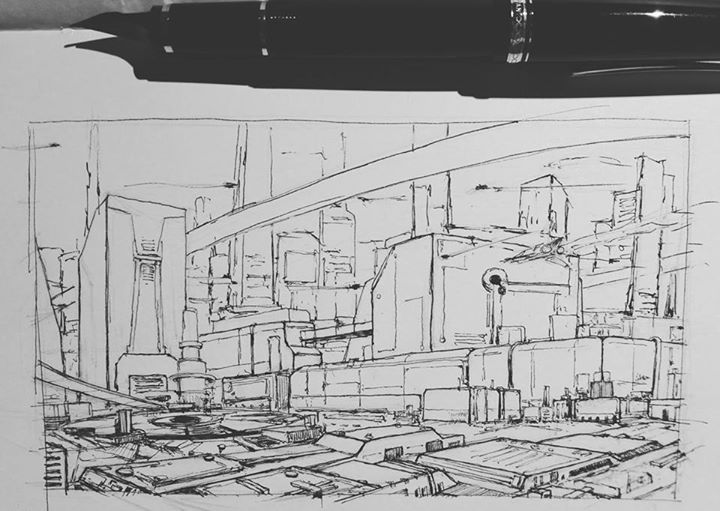 Daily sketch #82 #arthabit #art #drawing #doodle #sketch #ink #pen #sketchbook #dailysketch #ericpaints #illustration #illustrator #conceptart #concept #city #scifi #environment #fountainpen #pilotfalcon #namikifalcon