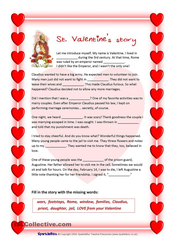 St Valentines Story And Valentines Quiz Valentines Quiz Valentine Worksheets Valentine Reading