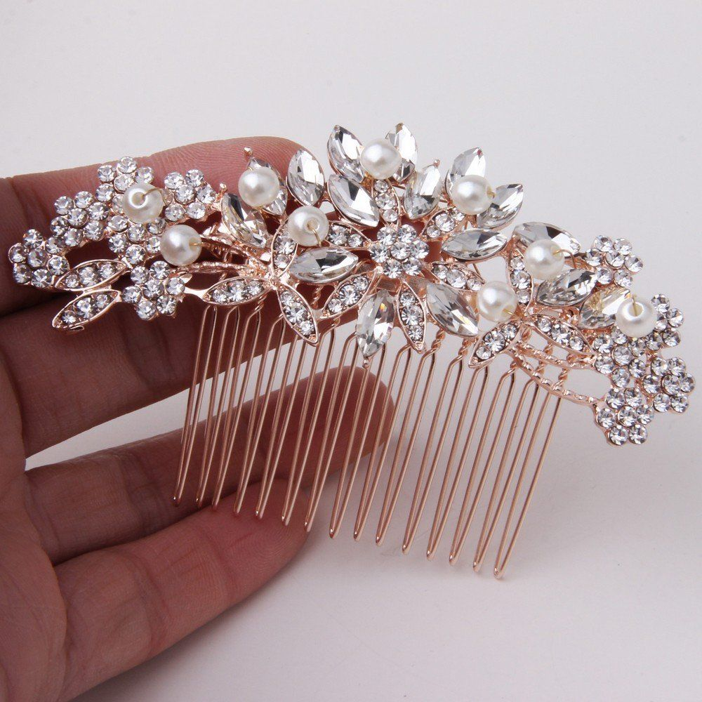 Fairy moda vintage pearl crystal bridal hair accessories rose gold