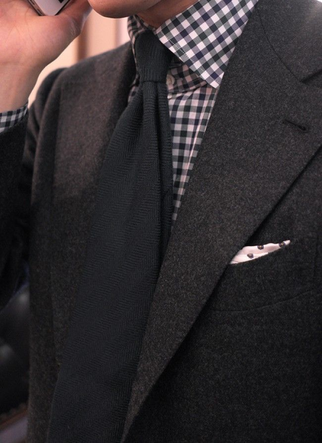 HARRISONS charcoal gray thick flannel Suit, BOSSA gingham check ...