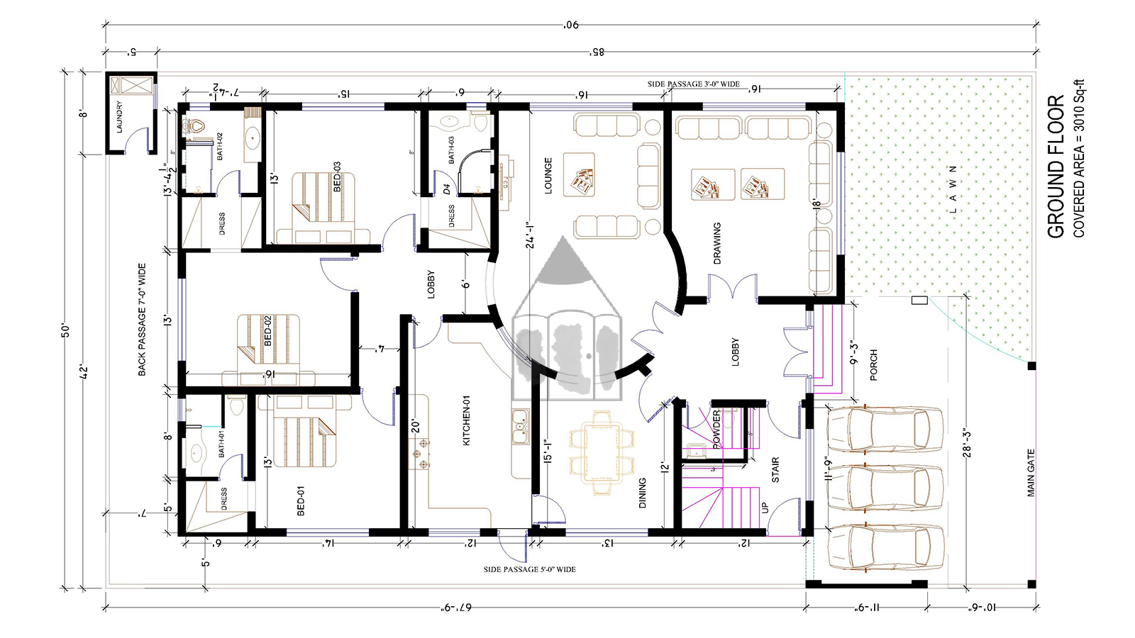 Ground floor architectural plan of 1 kanal house the for One kanal house plan