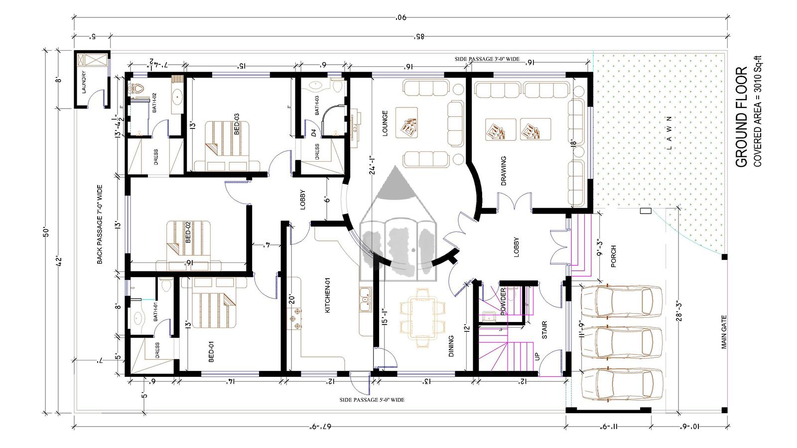 1 Khouse Plan Dwg Modern House