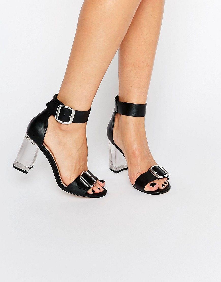 ASOS HOOLA Clear Heeled Sandals - Black