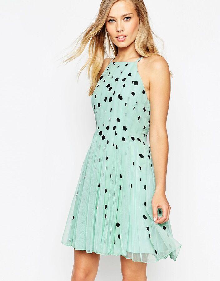 Mint dot dress | Flare mini dress, Fit and flare cocktail ...