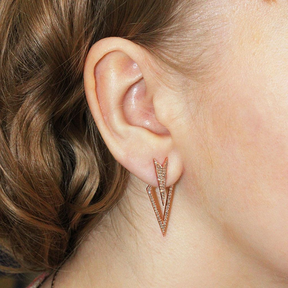 NEW 18k Solid Rose Gold ARROW HEAD Ear Jackets Pave Natural