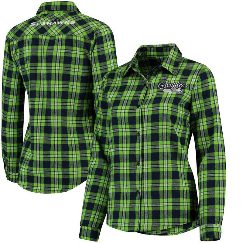 27ed4a9ba Seattle Seahawks Klew Women s Wordmark Flannel Button-Up Long Sleeve Shirt  - College Navy