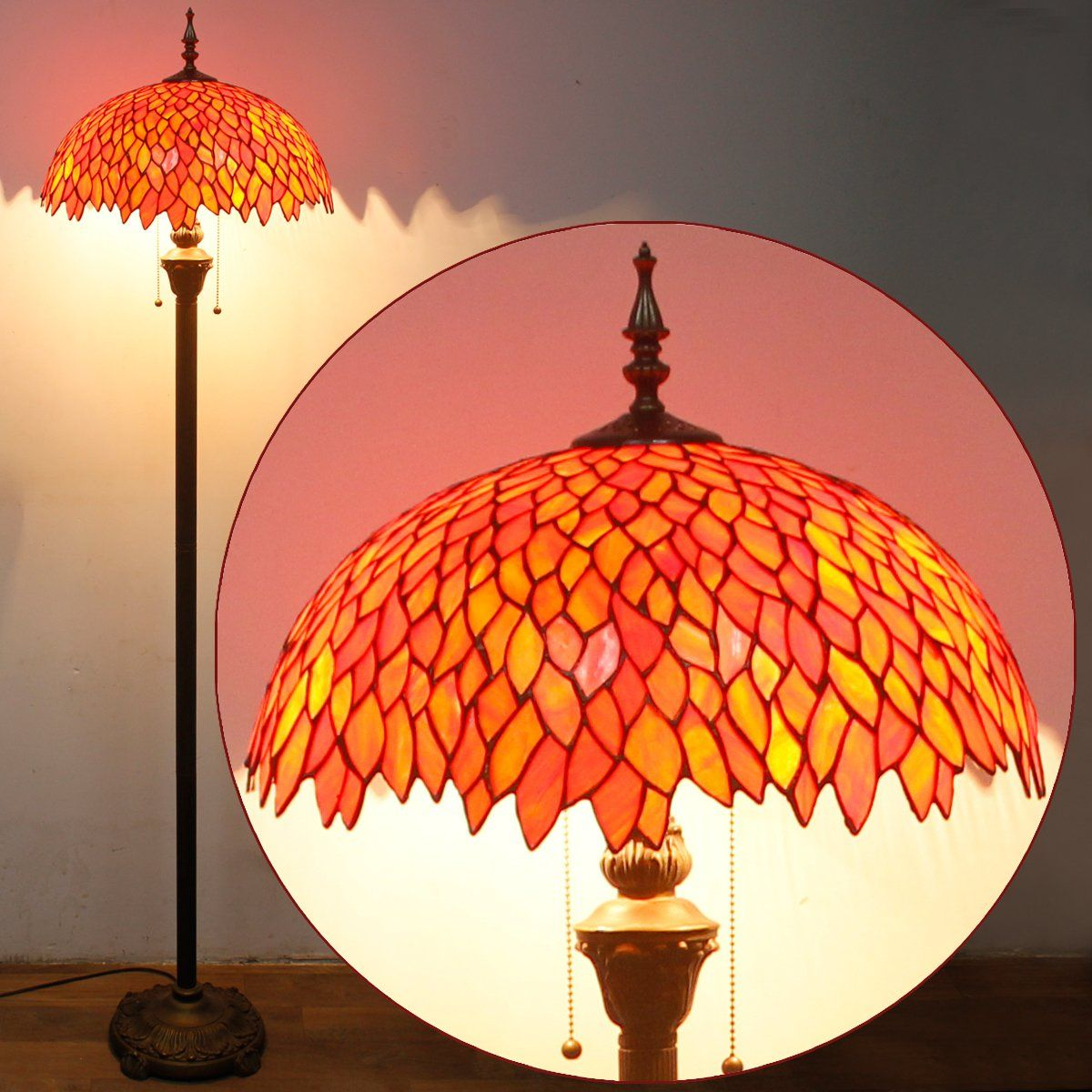 Tiffany Floor Lamp Colorful Stained Glass Floor standing