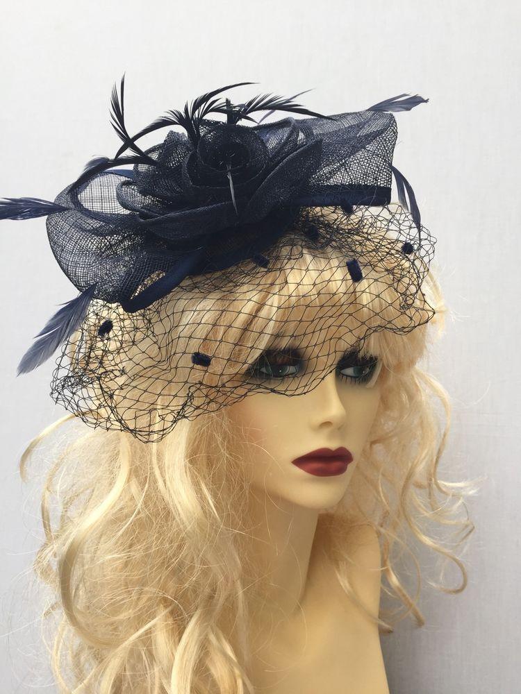 Luxury Navy Blue Rose Flower Feather Net Veil Ladies Fascinator Hat Weddings 3b5550cd17c