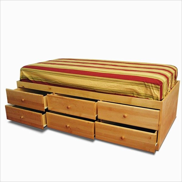 extra long twin storage bed 6 drawers in pine | twin xl, drawers