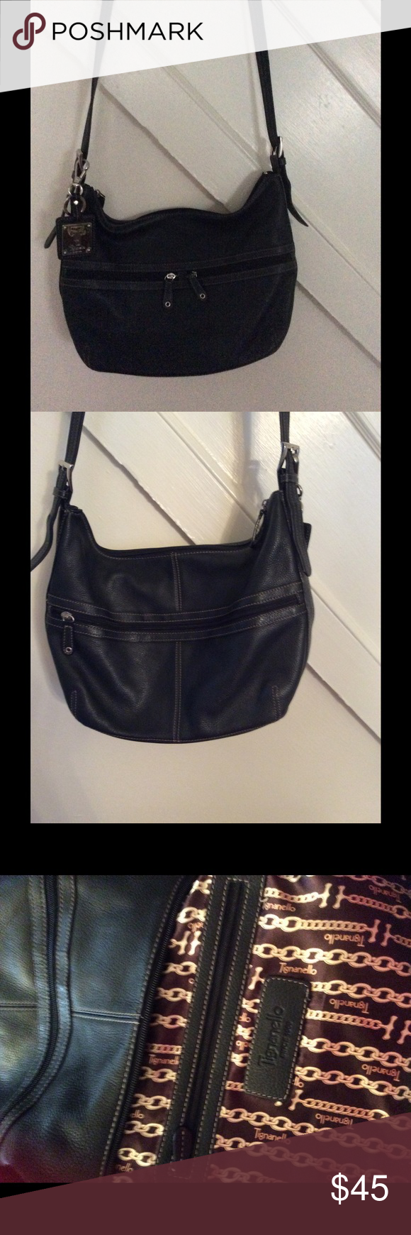 Like New Black Tignanello Bag 4 Free Key Chains This Is A Leather