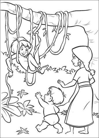 Mowgli in the Jungle Coloring page Jungle Book Pinterest