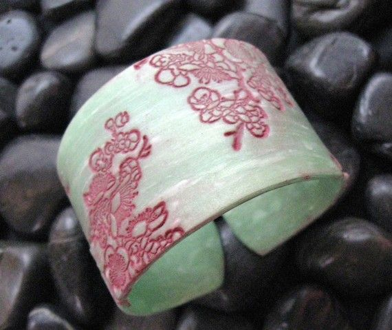 Jade cuff bracelet Asian style burgundy floral by theshagbag, $16.95