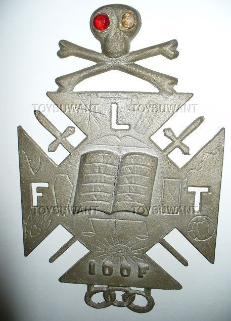 Odd Fellows Grave Marker License Plate Topper Ioof Skull Crossbones