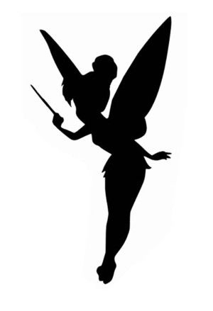 Silhouette de f e clochette imprimer recherche google for Black and white tinkerbell